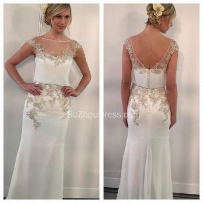 Gorgeous  Prom Dresses Illusion Neck Cap Sleeve Appliques Mermaid Chiffon Zipper Elegant Evening Gowns_2