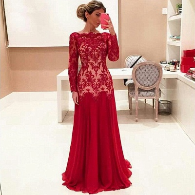 Long Sleeve Red Lace Evening Dresses   High Quality Prom Gowns_3