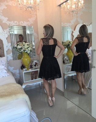 Gorgeous Black Lace Short Little Party Dress Illusion Sleeveless  Homecoming Dresses_4