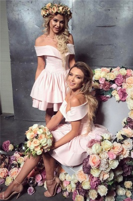 Off The Shoulder Pink Short Homecoming Dresses Lovely Mini Formal Party Dress_1