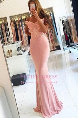 Beading Lace Sheath  Long Sexy Off-the-shoulder Spandex Pink Evening Dresses BA4148_5