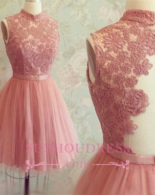 Sleeveless Mini Newest High-Neck Appliques Lace Homecoming Dress_1