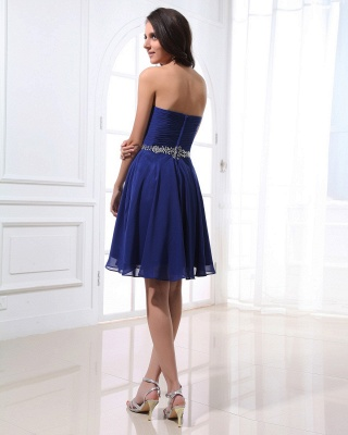 Navy Blue Cocktail Dresses  Sweetheart Sleeveless Short Chiffon Beading Sequins Sash Short Elegant Homecoming Gowns_3