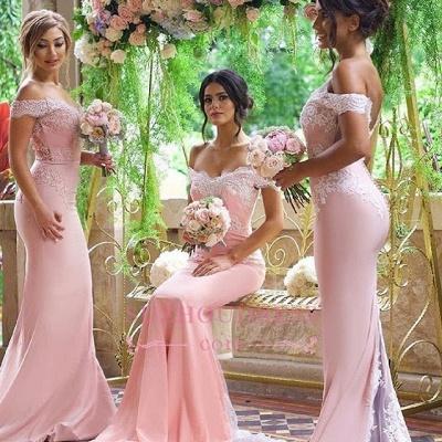Off-the-Shoulder Blushing-Pink Elegant Long Lace-Appliques Bridesmaid Dresses_1