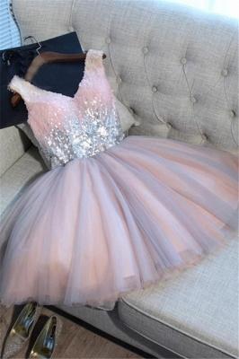Glamorous V-Neck Tulle Sequins Homecoming Dresses  Sleeveless Lace-up Hoco Dresses_1