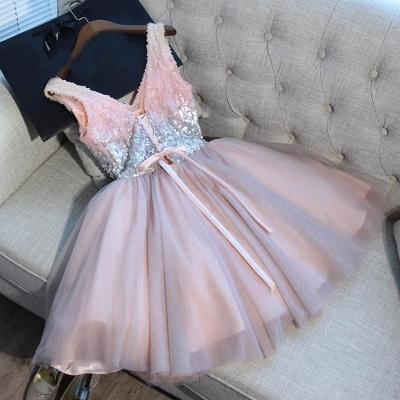Glamorous V-Neck Tulle Sequins Homecoming Dresses  Sleeveless Lace-up Hoco Dresses_4
