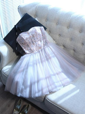 Sweetheart-neck Short Applique Lace Tulle Cute Homecoming Dress_3