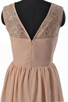 Empire Simple  Lace Chiffon Mini Homecoming Dress_2