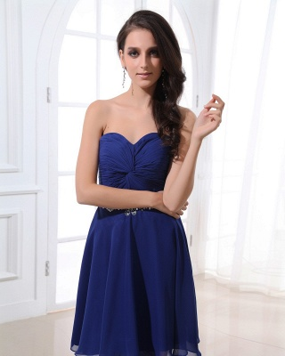 Navy Blue Cocktail Dresses  Sweetheart Sleeveless Short Chiffon Beading Sequins Sash Short Elegant Homecoming Gowns_2