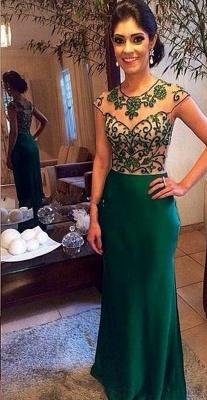 Dark Green Floor Length Beading Evening Dress Gorgeous Scoop Neckline  Prom Dress BA7965_1