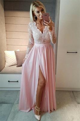 Sexy Split Long Sleeve Evening Dress  Black Lace V-neck  Prom Dresses FB0191_3
