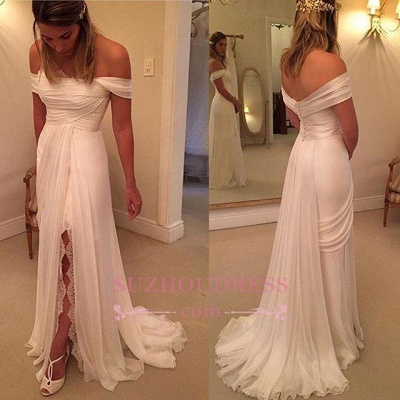 Chiffon Wedding Lace Split Long Off-the-Shoulder Dress Zipper BA4760_1