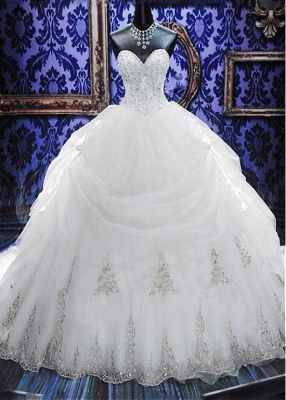 Elegant White Sweetheart Crystal Ball Gown Wedding Dress Court Train Bowknot Bridal Gowns with Beadings_5