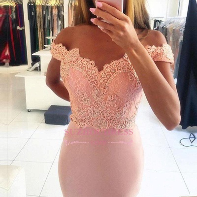Beading Lace Sheath  Long Sexy Off-the-shoulder Spandex Pink Evening Dresses BA4148_4