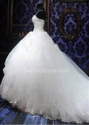 Elegant White Sweetheart Crystal Ball Gown Wedding Dress Court Train Bowknot Bridal Gowns with Beadings_2
