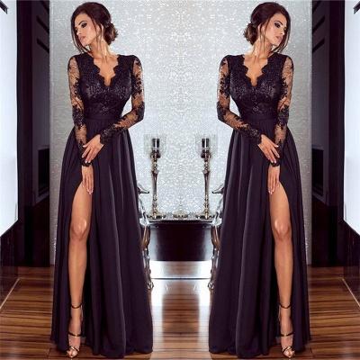Sexy Split Long Sleeve Evening Dress  Black Lace V-neck  Prom Dresses FB0191_6