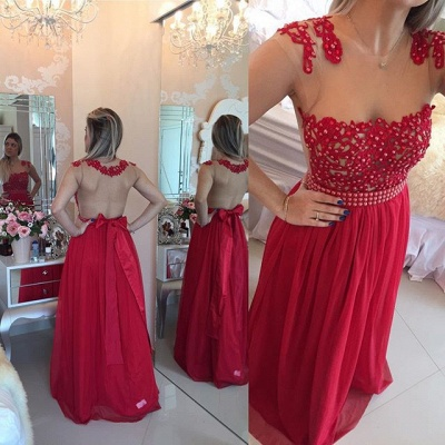 New Arrival Lace Chiffon Prom Dresses  with Beadings Sheer Neck Capped Sleeves Long Evening Gowns BMT010_5