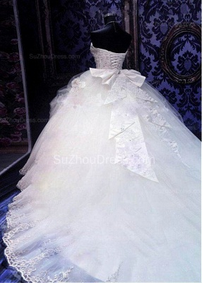 Elegant White Sweetheart Crystal Ball Gown Wedding Dress Court Train Bowknot Bridal Gowns with Beadings_3
