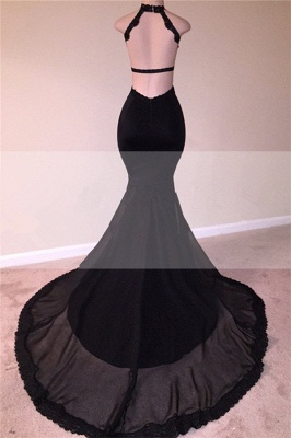 Sexy Black Open Back Lace Prom Dresses |  Sleeveless See Through Tulle  Evening Gown_3