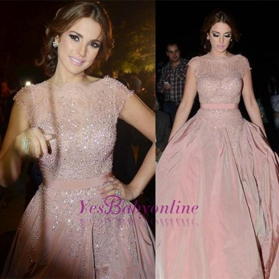 Pink Cap-Sleeve Diamonds Designer Charming Evening Dress_1