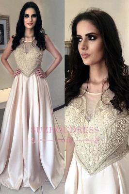 Champagne Pearls Sleeveless Prom Dress   Long Scoop A-Line Evening Dresses_3