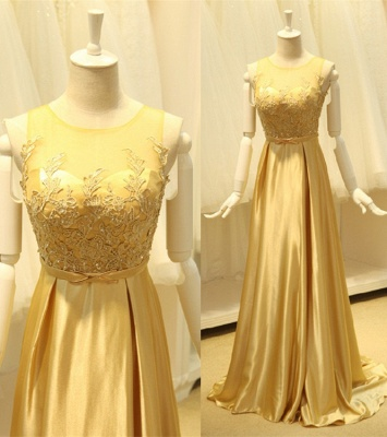 Elegant Gold Silk Chiffon Long Evening Dresses Sweep Train Sheer Top Beads Popular Prom Dresses_1