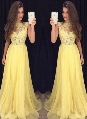 Lace Chiffon  New Prom Dresses Sleeveless A-line  Evening Gowns_1
