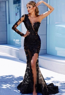 One Sleeve Black Lace  Prom Dresses  | Mermaid See Through Sexy Long Evening Dress FB0408_1