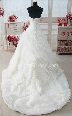 Sweetheart Ruffles White Long Bridal Gown Unique Organza Custom Made Wedding Dresses_2