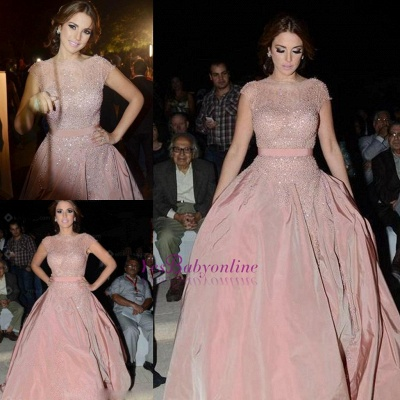 Pink Cap-Sleeve Diamonds Designer Charming Evening Dress_4