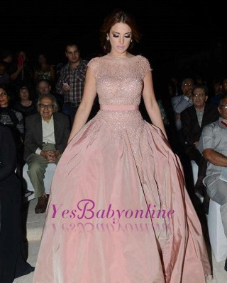 Pink Cap-Sleeve Diamonds Designer Charming Evening Dress_5