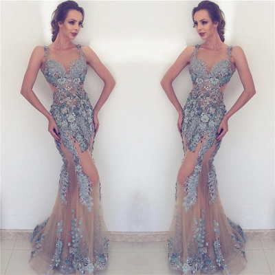 See Through Tulle Beads Flowers Appliques Evening Dress | Sleeveless  Sexy Formal Dresses_3