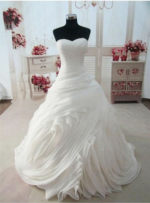 Sweetheart Ruffles White Long Bridal Gown Unique Organza Custom Made Wedding Dresses_1
