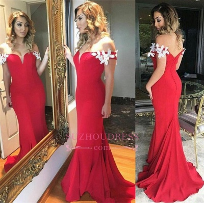 Open-Back Long Elegant Sheath White-Appliques Ruffles Off-the-shoulder Red Evening Dress_1
