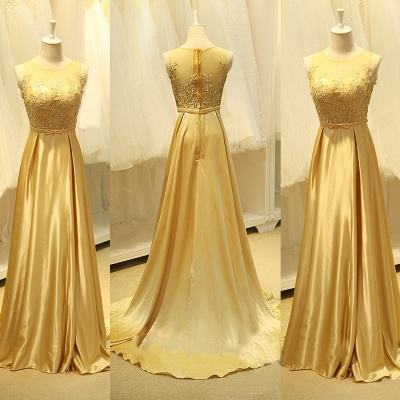 Elegant Gold Silk Chiffon Long Evening Dresses Sweep Train Sheer Top Beads Popular Prom Dresses_2