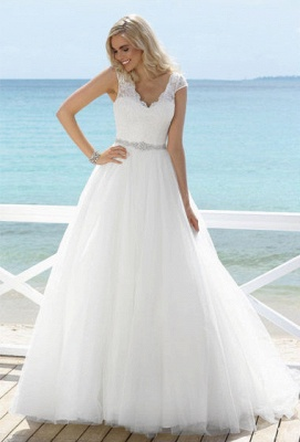 Lace Crystal Beading Wedding Dresses A Line V Neck Cap Sleeves  Tulle Bridal Gowns_1