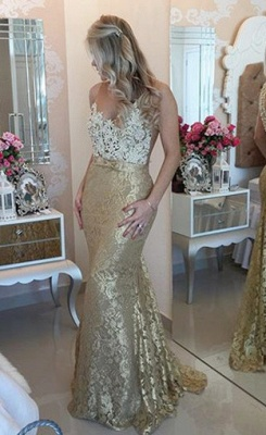 Sexy Mermaid Lace Beadings Evening Dress Latest Floor Length Trumpet Prom Dress BA4767_1