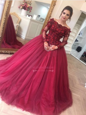 Burgundy Off-The-Shoulder Applique Evening Dresses  Long-Sleeves Tulle Ball Gown Prom Dresses BA7967_3