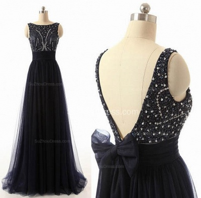 A-Line Black Tulle Long Prom Dresses with Beadings Open Back Formal Bowknot Custom Made Special Occassion Dresses_4