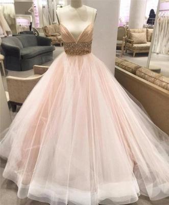 Spaghetti Strap Empire Bridal Dresses Crystal Tulle V-Neck Wedding Dress_3