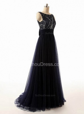 A-Line Black Tulle Long Prom Dresses with Beadings Open Back Formal Bowknot Custom Made Special Occassion Dresses_2