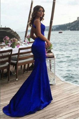 New Arrival Royal Blue Mermaid Sleeveless Prom Dresses Backless Evening Gowns BA7642_3