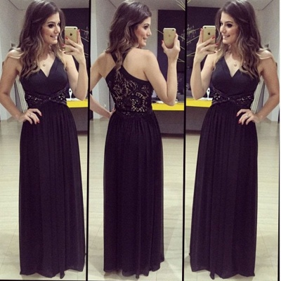 A-Line V-Neck Empire Black Prom Dress Halter Lace Crystal Floor Length Evening Gown_3