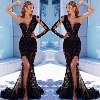 One Sleeve Black Lace  Prom Dresses  | Mermaid See Through Sexy Long Evening Dress FB0408_2