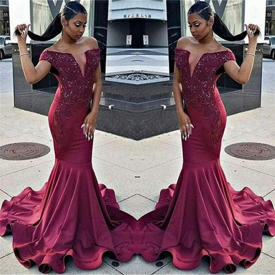 Off The Shoulder Mermaid Prom Dress  | Ruffles V-neck Beads Appliques Evening Dress_3