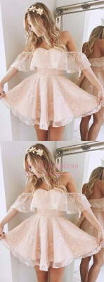Off The Shoulder Homecoming Dresses Party Peach Sexy Lace Short Cocktail Dresses BA6346_3