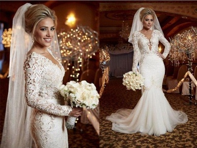 Scoop Long Sleeve Lace Wedding Dress Online Mermaid Backless  Bridal Gowns WE0035_4