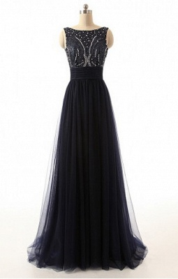 A-Line Black Tulle Long Prom Dresses with Beadings Open Back Formal Bowknot Custom Made Special Occassion Dresses_1