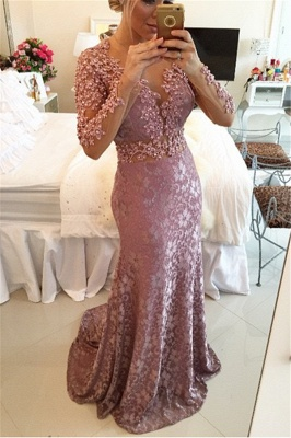 Sexy Sheer Neckline  Popular Prom Dresses Long Sleeve Backless Plus Size Formal Dress BMT013_1
