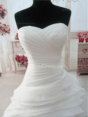 Sweetheart Ruffles White Long Bridal Gown Unique Organza Custom Made Wedding Dresses_3